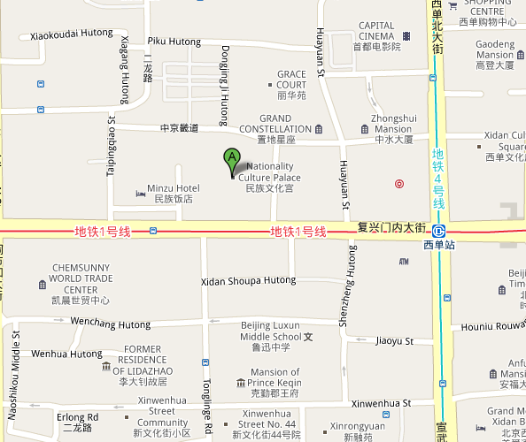 Map of Beijing Nationality Culture Palace Theatre