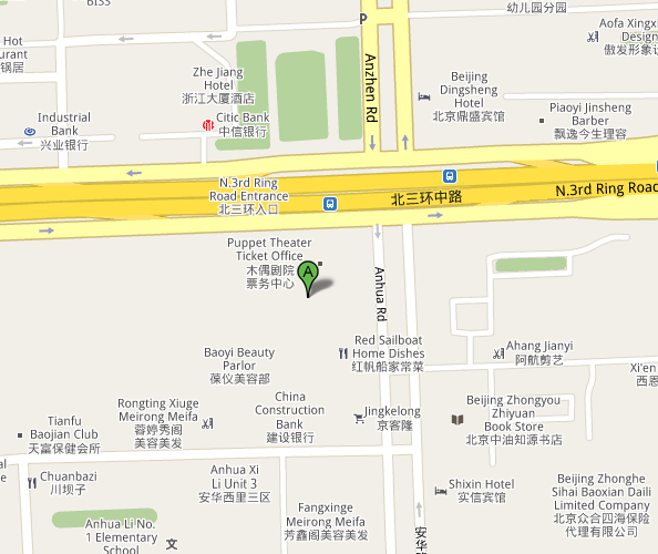 Map of China Puppet Theatre Beijing