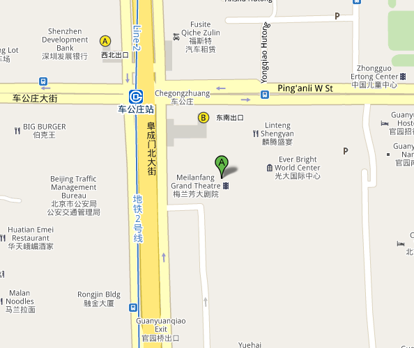 Map of Beijing Mei Lanfang Grand Theatre